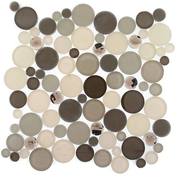 Symphony Bubble Round Mosaic Tile - SBS-1515 Platinum Foam - Glass & Natural Stone Marble Interlocking Sheet - Sample