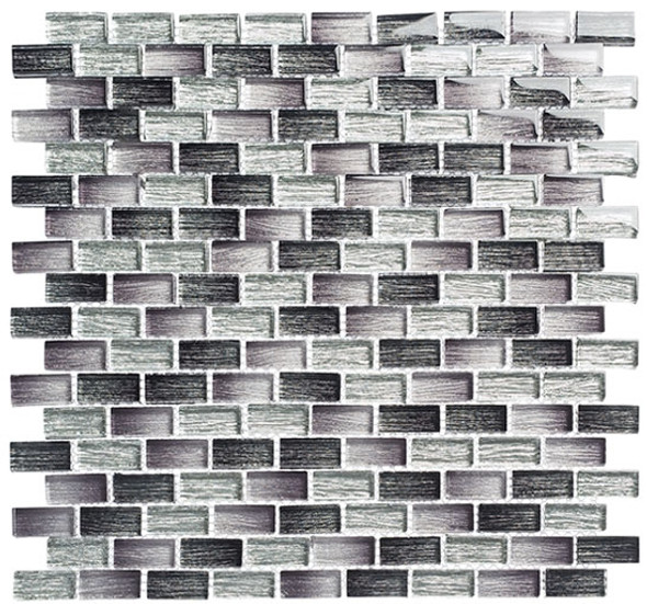 Metro - MTR-3342 Lucas Midnight- 5/8 X 1-1/4 Mini Brick Subway Mix Foil Glass Tile Mosaic