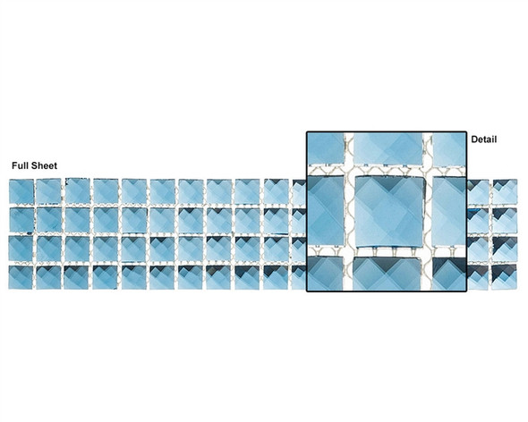 Kasbah - KS442 Mediterranean Blue - 2.5 X 12 Jewel Mirror Glass Tile Mosaic Border Liner Strip - Sample