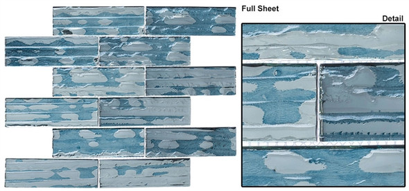 Dropletts DRP980 Prussian Ice - 2 X 6 Textured Mirror Glass Subway Brick Tile - Sample