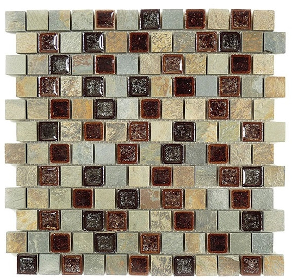 Tranquil Offset - TS-921 Shallow Reef - 1X1 Crackle Jewel Glass & Natural Stone Decorative Mosaic Tile - Sample