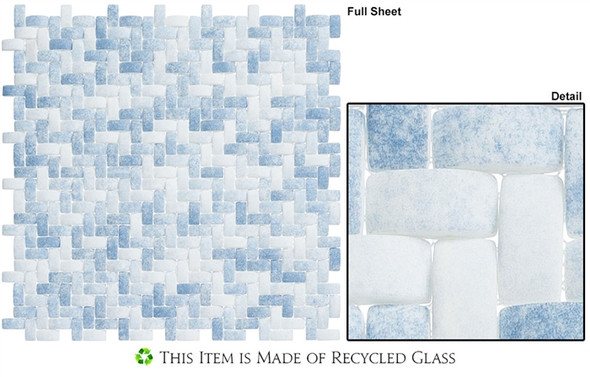 Summer Outing - SMO324 Denim Wash - Basketweave Raised 3D Relief - Recycled Glass Mosaic - Sample
