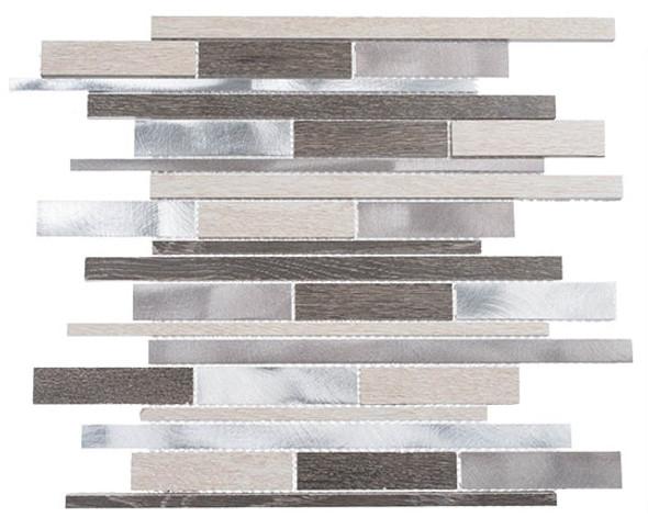 Maison De Luxe Series - MDX-2722 Platinum Road - Brick Shape Porcelain Wood & Metal Mosaic Tile - Random - Sample
