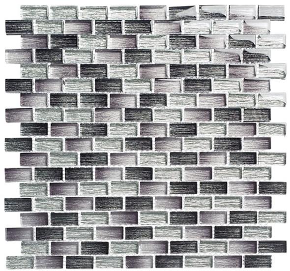 Metro - MTR-3342 Lucas Midnight- 5/8 X 1-1/4 Mini Brick Subway Mix Foil Glass Tile Mosaic - Sample