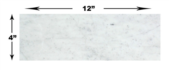 Carrara White Marble - 4 X 12 Subway Brick Rectangle Tile - POLISHED