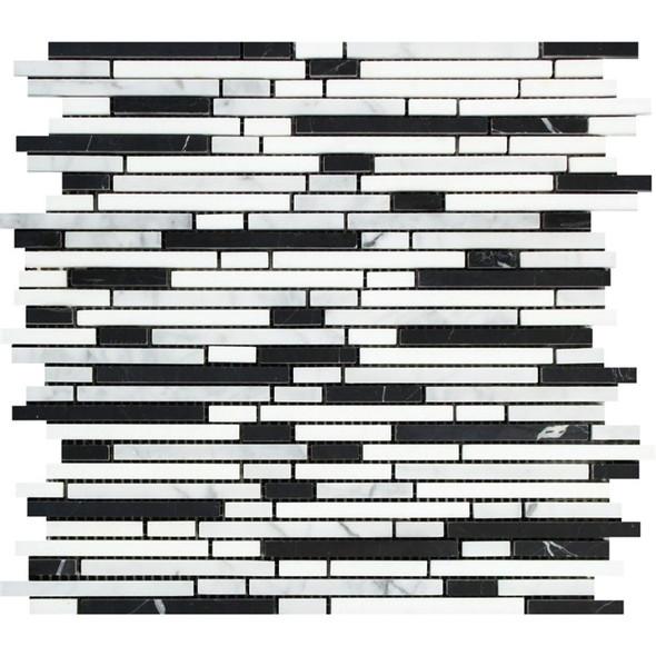 Carrara White Marble - Bamboo Sticks Mix #1 - 5/16 X Random Length Mini Brick Strip Mosaic - HONED