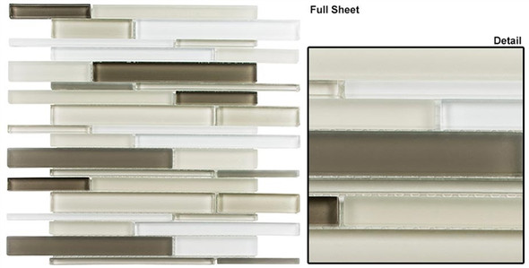 Cane - CN33 Cypress Green - Random Brick Linear Glass Tile Mosaic - Sample