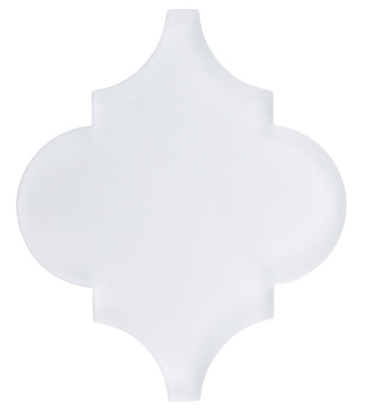 Glazzio Arabesque Glass Tile - Versailles VS-421FROSTED White Tulip - Moroccan Style Glass - Matte Frost Finish