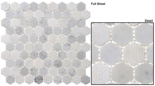 "Excalibur - EHEX-153 Timber Wolf - 1-1/4"" Hexagon Marble Stone Mosaic - Sample"