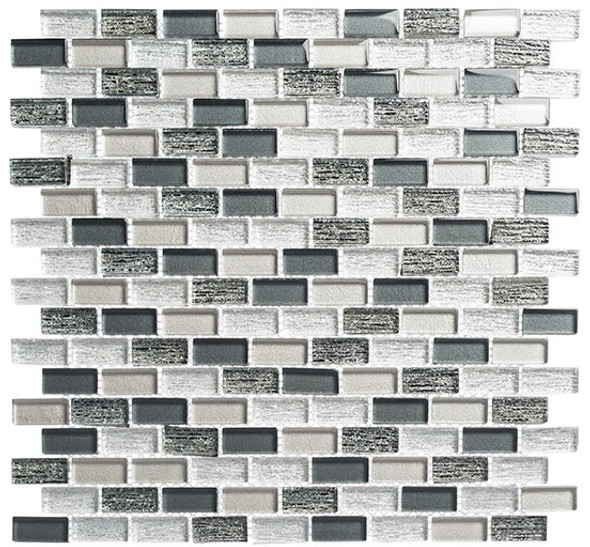 Metro - MTR-3343 Jules Charcoal- 5/8 X 1-1/4 Mini Brick Subway Mix Foil Glass Tile Mosaic
