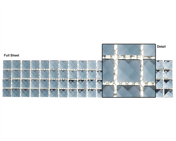 Kasbah - KS443 Date Palm - 2.5 X 12 Jewel Mirror Glass Tile Mosaic Border Liner Strip - Sample