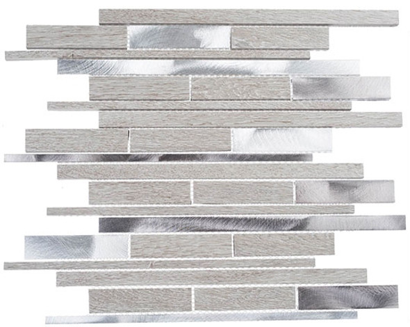 Maison De Luxe Series - MDX-2723 Throne Room - Brick Shape Porcelain Wood & Metal Mosaic Tile - Random
