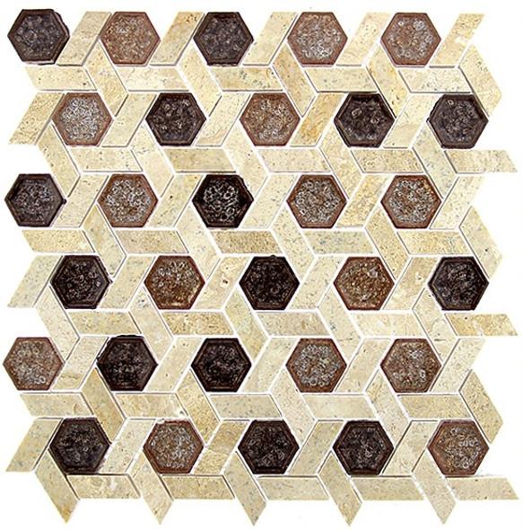Tranquil Hexagon - TS-952 Jerusalem Garden - Crackle Jewel Glass & Natural Stone Decorative Mosaic Tile - Sample