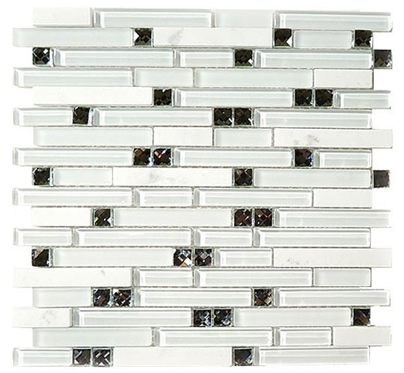 Symphony - SPS-1501 Morning Meditation - 5/8 X Random Brick Linear Glass & Natural Stone Mosaic Tile - Sample