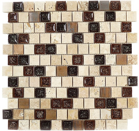Tranquil Offset - TS-922 Spotted Dove - 1X1 Crackle Jewel Glass & Natural Stone Decorative Mosaic Tile - Sample