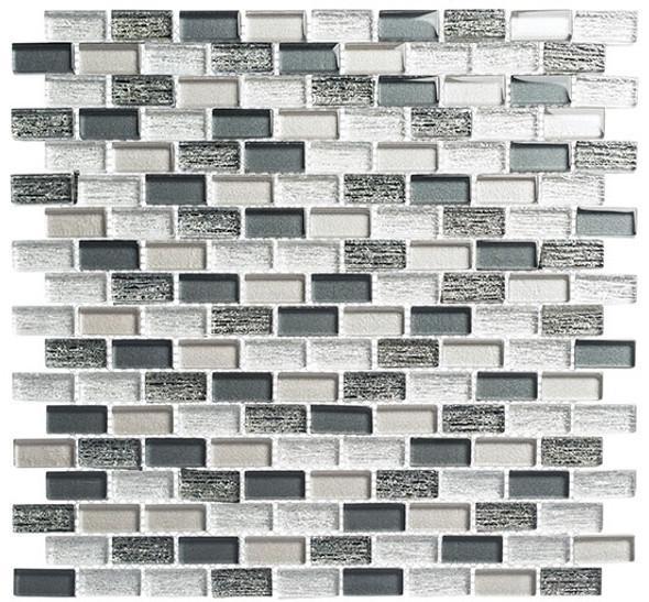 Metro - MTR-3343 Jules Charcoal- 5/8 X 1-1/4 Mini Brick Subway Mix Foil Glass Tile Mosaic - Sample