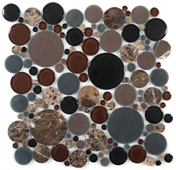 Supplier: Tile Store Online, Name: BFS-601, Color: Twilight,Type: Round Glass & Stone Mosaic Tile, Size: 12X12