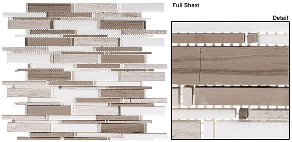 Cascade - CS94 Wooden White + Athen Gray + Thassos Mix - Random Brick Stick Linear Natural Stone Mosaic Tile - Sample