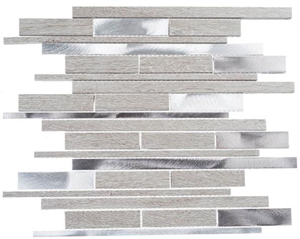 Maison De Luxe Series - MDX-2723 Throne Room - Brick Shape Porcelain Wood & Metal Mosaic Tile - Random - Sample