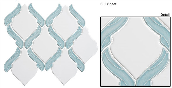 Lumiere - LMR-8504 Marseille Aqua- Arabesque Pattern Crackle & Solid Mix Glaze Porcelain Decorative Mosaic Tile - Sample