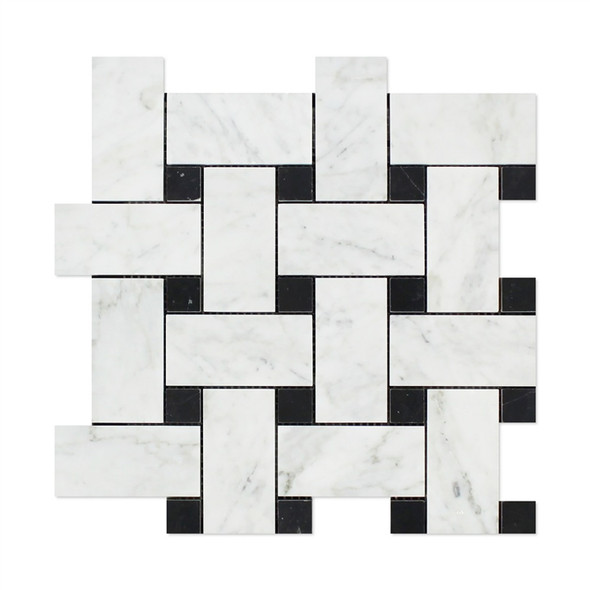 Carrara White Marble - Large Basketweave Pattern Mosaic Tile - Black Dot - HONED