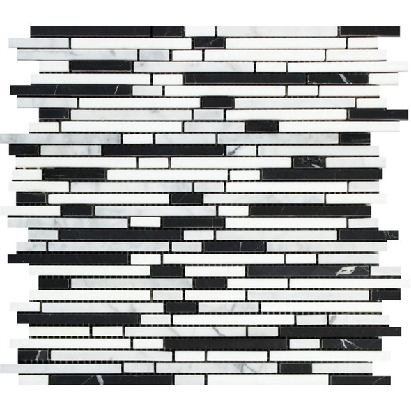 Carrara White Marble - Bamboo Sticks Mix #1 - 5/16 X Random Length Mini Brick Strip Mosaic - POLISHED
