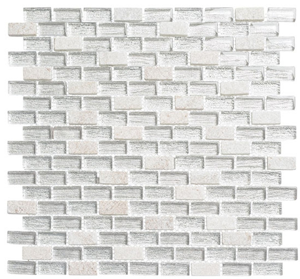 Metro - MTR-3344 Chloe White - 5/8 X 1-1/4 Mini Brick Subway Mix Foil Glass Tile Mosaic