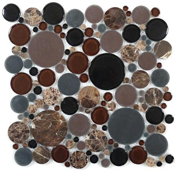 Round Bubble Glass & Natural Stone Marble Mosaic Tile - BFS-601 Twilight - Interlocking Sheet - Sample