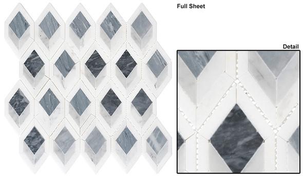 Ashbury - AHR-431 Cobalt Avenue - Diamond Shape Pattern Marble Stone Mosaic