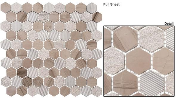 """Excalibur - EHEX-154 Smokey Tan - 1-1/4"""" Hexagon Marble Stone Mosaic - Sample"""