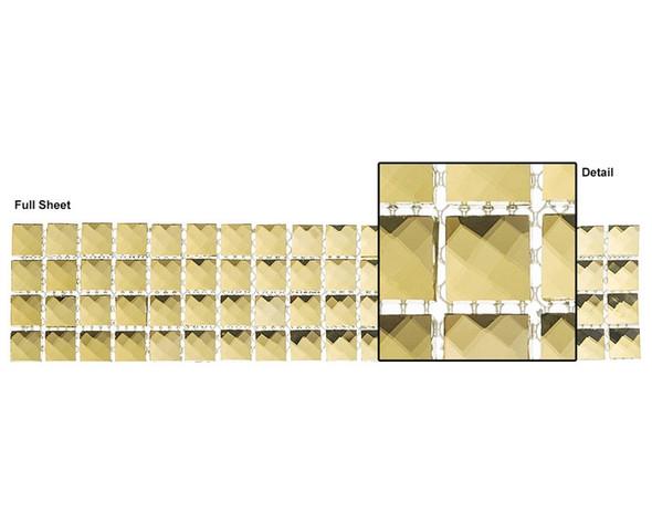 Kasbah - KS444 Golden Scarf - 2.5 X 12 Jewel Mirror Glass Tile Mosaic Border Liner Strip - Sample