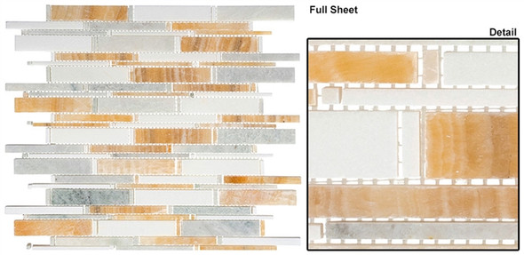 Cascade - CS95 Honey Onyx + Ming Green + Thassos White - Random Brick Stick Linear Natural Stone Mosaic Tile