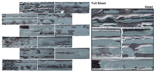 Dropletts DRP982 Dazzling Silver - 2 X 6 Textured Mirror Glass Subway Brick Tile - Sample