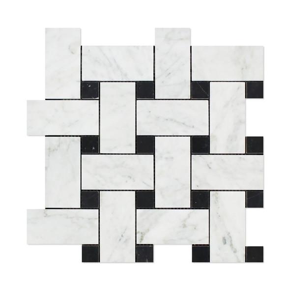 Carrara White Marble - Large Basketweave Pattern Mosaic Tile - Black Dot - HONED - Sample