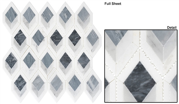 Ashbury - AHR-431 Cobalt Avenue - Diamond Shape Pattern Marble Stone Mosaic - Sample