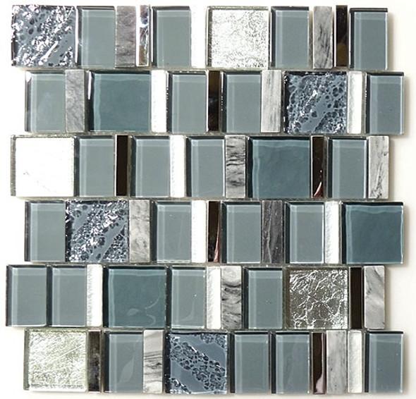 Academia - AS-73 Oceanic Cerulean - Random Offset Glass, Natural Stone, & Metal Mosaic Tile - Sample