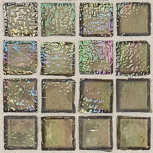Daltile Egyptian Glass - EG09 Camel - 1 X 1 Iridescent Clear Color Glass Tile Mosaic - Sample