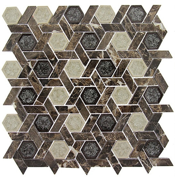 Tranquil Hexagon - TS-953 Capitol Archive - Crackle Jewel Glass & Natural Stone Decorative Mosaic Tile - Sample