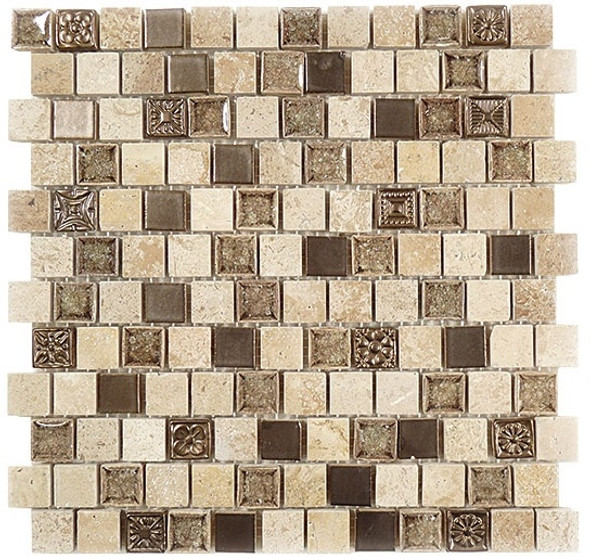 Tranquil Offset - TS-923 Ashen Forest - 1X1 Crackle Jewel Glass & Natural Stone Decorative Mosaic Tile - Sample