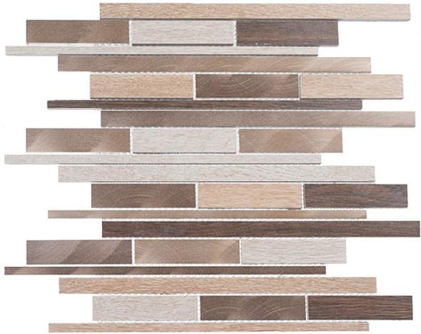 Maison De Luxe Series - MDX-2724 Cashmere Drive - Brick Shape Porcelain Wood & Metal Mosaic Tile - Random - Sample