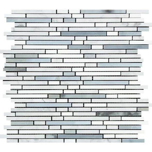 Carrara White Marble - Bamboo Sticks Mix #2 - 5/16 X Random Length Mini Brick Strip Mosaic - HONED