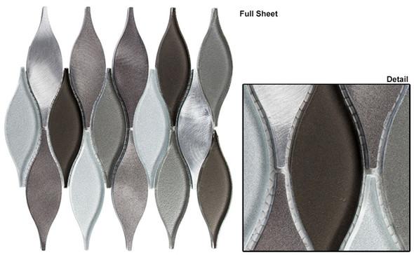Chandelier - CHS-214 Velvet Truffle - Flame Shape Glass & Metal Mosaic Tile - Sample