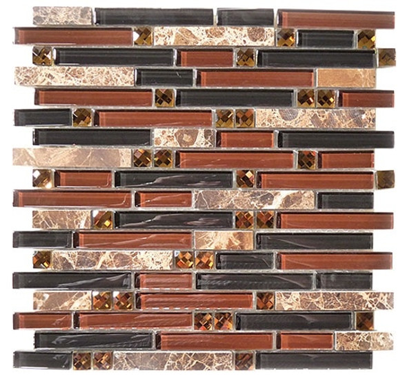 Supplier: Tile Store Online, Name: SPS-1503, Color: Wooden Chant,Type: 5/8 X Random Brick Linear Glass & Stone Mosaic Tile, Size: 12X12