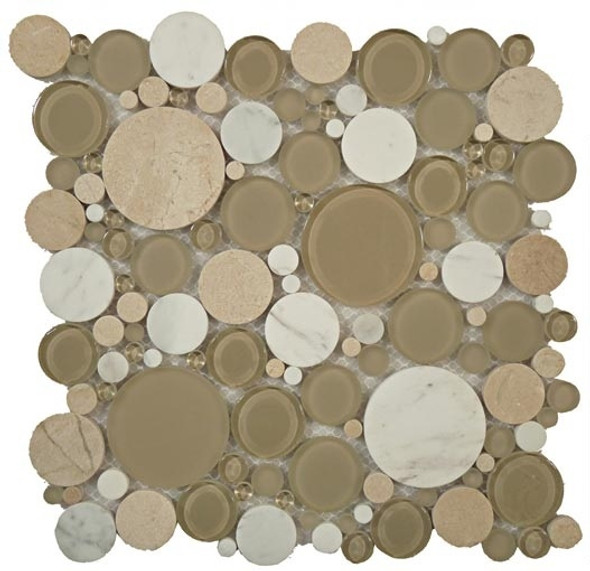 Round Bubble Glass & Natural Stone Marble Mosaic Tile - BFS-701 Olivine - Interlocking Sheet - Sample