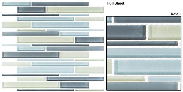Cane - CN35 Saybrook Sage - Random Brick Linear Glass Tile Mosaic - Sample