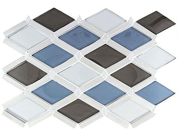 Falling Star - FGS-221 Cerulean Gaze - Glass & Aluminum Metal Mosaic Tile - Sample