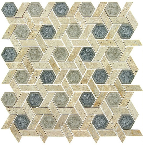 Supplier: Tile Store Online, Name: Tranquil Hexagon TS-954, Color: Mansion Drive, Type: Crackle Jewel Glass & Stone Mosaic Tile, Size: 11.75X12.25