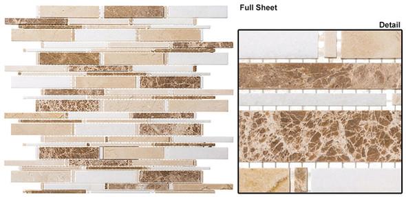 Cascade - CS96 Crema Marfil + Thassos White + Emperador Lig - Random Brick Stick Linear Natural Stone Mosaic Tile