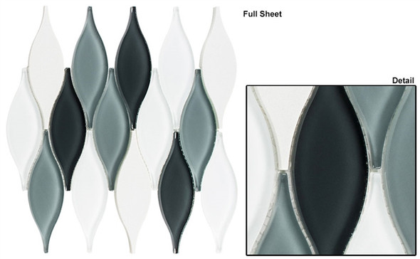 Chandelier - CHS-215 Ascot Grey - Flame Shape Glass & Metal Mosaic Tile