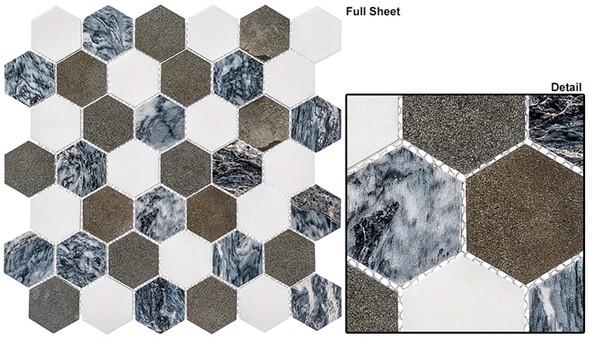 "Colonial - CLNL-270 Presidential Gray - 2"" Hexagon Marble Stone Mosaic - Sample"
